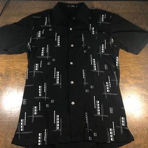 Versace Sport Black Short Sleeve Button Up Shirt